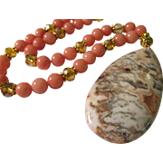 Crazy Lace Agate Teardrop Pendant with Pink Chrosite and Crystal Bead Necklace, 21""