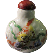 SALE Chinese Five Lion Foo Dogs Porcelain Snuff Bottle