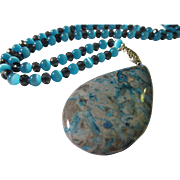 SALE Blue Crazy Lace Pendant with Mexican Blue Opal Bead Necklace, 24""