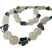 SALE Sri Lanka Moonstone Beads with Peacock Blue Crystal Butterfly Charms, 24""
