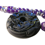 Chinese Foo Lion Dogs on Jet Black Obsidian Pendant with Russian Amethyst and Crystal Bead ...