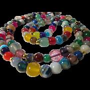 "Endless Rainbow-Colored Multi-Gemstone Bead Necklace, 38"""