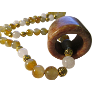 """SALE Chinese Jade Archer Ring on White and Grey Jade Bead Necklace, 23"""""""