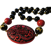 SALE Red and Black Dragon Cinnabar Pendant with Black Onyx-Red Coral-Gold Etched Dragon ...