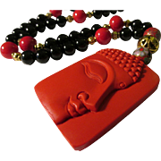 Red Cinnabar Buddha Pendant with Black Onyx, Chinese Cloisonne, and Red Gemstone Bead Necklace