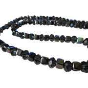 "Iridescent Ceramic Miniature Cube Bead with Midnight Blue Bi-Cone Crystal Necklace, 21"""