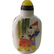 Chinese White Jade Snuff Bottle with Hand-Painted Images of Children at Play
