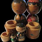 Rare Vintage Japanese Kokeshi Doll Family--Papa, Mama, Son, and Baby