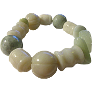 All-Jade Round, Drum, Pumpkin, Spiral, Wedge Chip, and Button Bead Expandable Bracelet