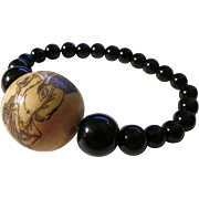 Etched Bone Ball Bead of Mystical Monk with Written Prayer Verse and Black Onyx Bead ...