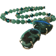 Sea Green Solar Quartz Druzy Crystal Artisan Pendant with Green Aventurine Bead Necklace, 24""