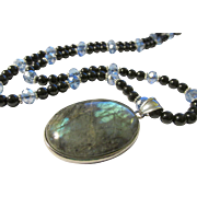 Iridescent Labradorite Oval Pendant with Black Agate and Crystal Bead Necklace, 24""
