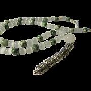 Five Tibetan Silver Buddha Head Charm Stick Pendant on Green Tree Jasper and White Cat ...