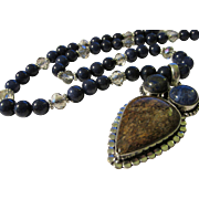 Artisan Brown Bronsite and Lapis Lazuli Stone Pendant with Lapis and Crystal Bead Necklace, 22