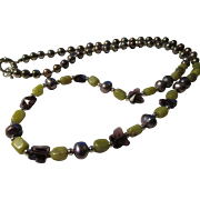 """Chinese Celadon Jade-Pewter Blue Pearl-Purple Crystal Butterfly Bead Necklace, 26"""""""