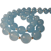 """Soft Blue Chalcedony Bead Necklace, 24"""""""