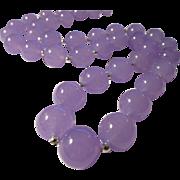 "Soft Lilac Lavender Gemstone Bead Necklace, 23"""