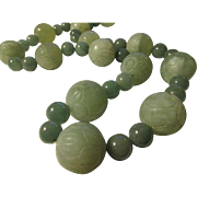 Carved Lotus Blossom on Chinese Celadon Green Jade Bead Ball with Aventurine Bead Necklace, 28