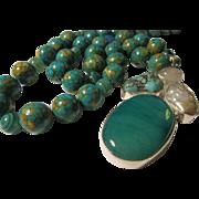 Botswana Agate-Turquoise-Rose Quartz-Pearl Artisan Pendant with Round Globe Magnesite Bead ...