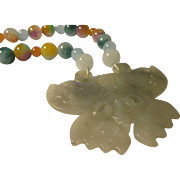 Carved Chinese Celadon Green Jade Butterfly-Moth Pendant with Multi-Color Jade Bead Necklace,