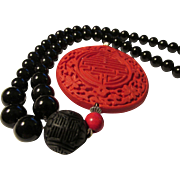 """SALE Chinese Red Cinnabar Round Pendant with Black Cinnabar and Onyx Agate Bead Necklace, 21"""""""