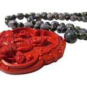 """Chinese Faux Cinnabar Pendant of Kwan Yin with Grey Labradorite Bead Necklace, 24"""""""