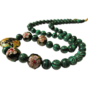 SALE Chinese Cloisonne Enamel Floral Money Moth Charms with Green Malachite Bead Necklace, 22""