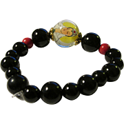 Hand Painted Kwan Yin Bubble Bead with Black Onyx and Red Gemstone Bead Expandable Bracelet