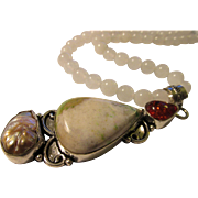 Fancy Artisan White Jasper-Pearl-Faux Amber Gemstone Pendant with White Jade Bead Necklace, 20