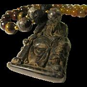 Old Chinese Jade Pendant of God of War with Black Cinnabar-Tiger Eye-Dragon Vein ...