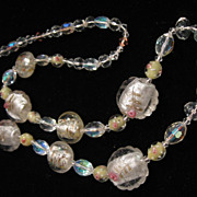 """SALE Pink Rose Bud Crystal Glass Bead Necklace 28"""""""