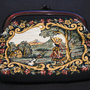 SALE Vintage Tapestry Cosmetic Clutch with Victorian Scene and Pinch Lucite Closure