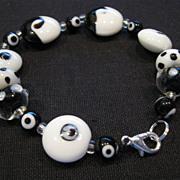 SOLD Yin Yang Fancy Black-and-White Glass Bead Bracelet