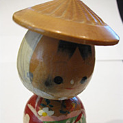 Vintage Japanese Farmer's Daughter Kokeshi Doll