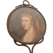 Antique Hand Painted Portrait Hand Mirror Victorian