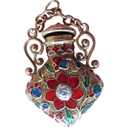SOLD Victorian Old Mine Cut Diamond And Enamel Chatelaine Perfume Bottle 14k Pendant; Poppy ..