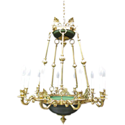 French Empire Chandelier 10 Lamp Brass Vintage Green Tole Crown Top Fixture
