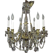 ROCOCO Vintage Crystal Beaded Brass Palatial French Chandelier European Prisms