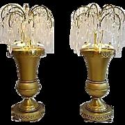Pair Art Deco Crystal Lustres Lusters Waterfall Girandoles Urn Lamp Pair