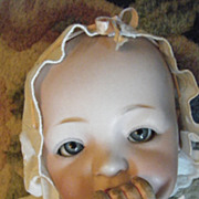 "17 1/2 ""Baby Kestner Doll Original Body Antique Christening Gown Fat Cheek"