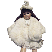 Vintage White Rabbit Fur Wrap ,Muff and Hat