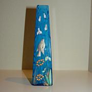 lovely little Harrach blue variegated  glass vase with bird