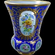 Signed Carl Goldberg Cut cased gilded and enameled Roemer / glass vase