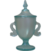 Fenton glass Florentine green or aqua dolphin candy dish 1927