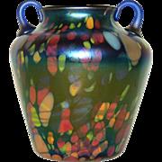 Fenton Mosaic inlaid Off hand art glass vase