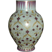 SALE Fritz Heckert Custard glass vase Persian design