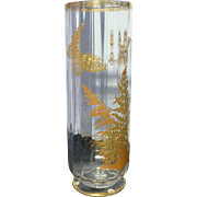 French Glass vase ribbed optic with butterflies and gilding