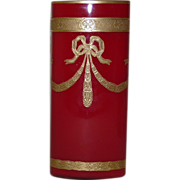 Red Legras Empire vase rectangular form