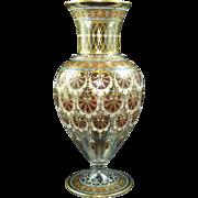 Lobmeyr glass vase Islamic design Red Palmette