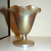 Loetz Candia papillion glass vase or candy dish signed